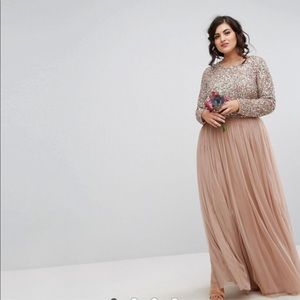 ASOS Maya Plus Bridesmaid long sleeved maxi dress